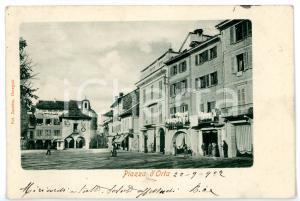 1904 ORTA SAN GIULIO (NO) Panni stesi al sole in piazza MOTTA *Cartolina FP VG
