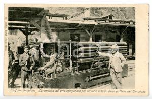 1900 ca TRAFORO DEL SEMPIONE Trenino con locomotiva ad aria compressa *Cartolina