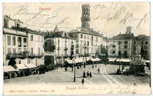 1904 VERCELLI Piazza Cavour - Scorcio con Torre dell'Angelo *Cartolina FP VG