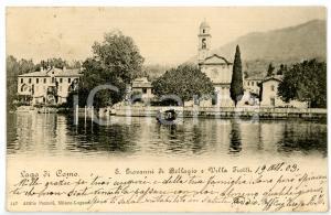 1903 BELLAGIO - SAN GIOVANNI Scorcio del LAGO DI COMO con barca *Cartolina FP VG