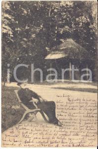 1898 Ritratto di Giuseppe Verdi in un parco - Cartolina postale VINTAGE FP VG