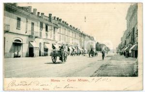 1902 MONZA Corso Milano - Veduta con passaggio di carrozze *Cartolina ANIMATA FP