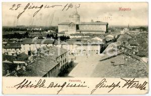 1903 MAGENTA (MI) Panorama con Basilica di SAN MARTINO *Cartolina ANIMATA FP VG
