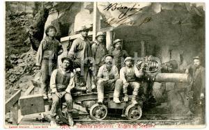 1904 ISELLE (VB) Traforo del SEMPIONE Operai su macchina perforatrice *Cartolina