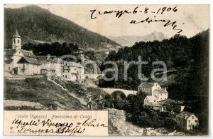 1904 SANTA MARIA MAGGIORE - CRANA (VB) Scorcio del paese *Cartolina ANIMATA FP