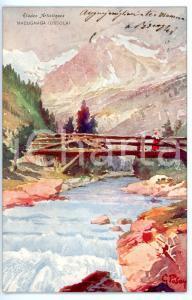 1905 ca MACUGNAGA (VB) Ponte sul torrente ANZA *Cartolina ILLUSTRATA da G. PASAY