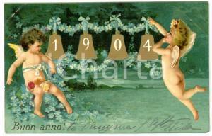 1903 OLGIATE OLONA Auguri di buon anno nuovo *Cartolina ILLUSTRATA FP VG