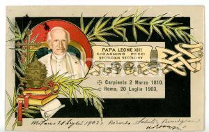 1903 MILANO Morte Papa LEONE XIII - Cartolina celebrativa ILLUSTRATA - FP VG