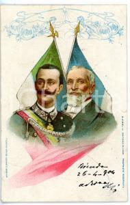1904 VITTORIO EMANUELE III - Émile LOUBET *Cartolina commemorativa ILLUSTRATA FP