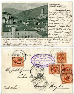 1903 GRIGNASCO (NO) Veduta panoramica - Timbro ALBERGO CLUB ALPINO *Cartolina FP