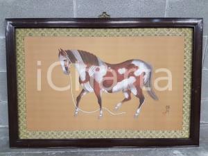 1975 CINA VINTAGE - Cavallo in posa - quadro 71,5 x 107,2 cm