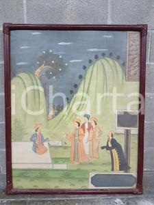 1975 CINA VINTAGE Paesaggio orientale con gruppo di uomini - quadro 85 x 104 cm