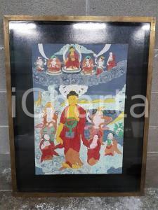 1975 CINA VINTAGE Scena spirituale orientale - quadro 58,5 x 75,5 cm