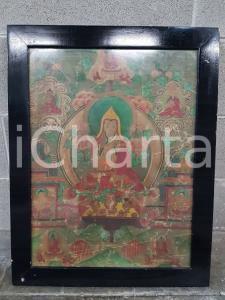 1975 CINA VINTAGE Scena spirituale orientale - quadro 50,3 x 64 cm