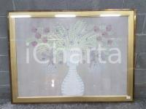 1975 CINA VINTAGE Fiori in vaso - quadro 118,5 x 88,5 cm