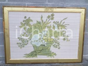 1975 CINA VINTAGE Fiori in vaso con uccelli - quadro 107,5 x 76,5 cm