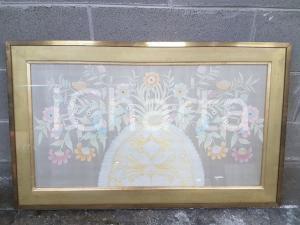 1975 CINA VINTAGE Composizione floreale in vaso a uovo - quadro 88,8 x 54 cm