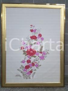 1975 CINA VINTAGE Composizione fiori rosso bianco viola - quadro 97,5 x 128 cm