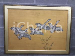 1975 CINA VINTAGE Stormo di oche selvatiche in volo - quadro 107,5 x 79,5 cm