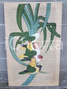 1975 CINA VINTAGE Pappagallini su ramo - quadro 52 x 82 cm