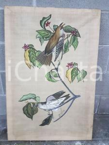1975 CINA VINTAGE Uccelli posati su rami - quadro 56 X 83,7 cm