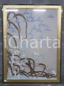 1975 CINA VINTAGE Stormo di uccelli planata - quadro 93 X 122,5 cm