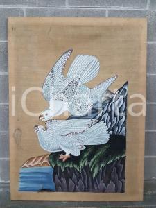 1975 CINA VINTAGE Rapaci sulla scogliera - quadro 85 X 114,7 cm