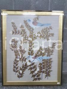 1975 CINA VINTAGE Uccelli azzurri su rami dorati - quadro 86,3 X 107,3 cm