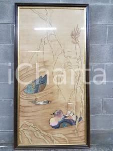 1975 CINA VINTAGE Anatre nel laghetto - quadro 73,3 x 141 cm