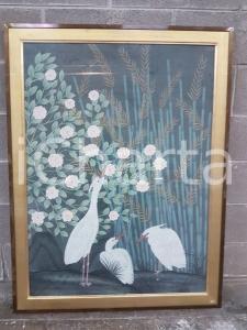 1975 CINA VINTAGE Aironi nel canneto con rose bianche - quadro 87 x 114 cm