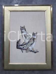 1975 CINA VINTAGE Gufi posati su ramo - quadro 49 x 65,3 cm
