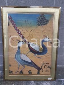 1975 CINA VINTAGE Uccelli variopinti - quadro 62,7 x 85 cm