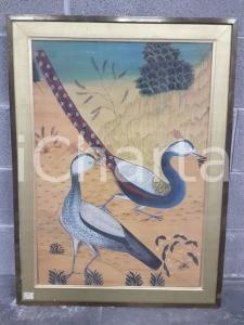 1975 CINA VINTAGE - Uccelli variopinti posati a terra - quadro 62,7 x 85 cm