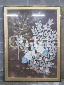 1975 CINA VINTAGE - Uccelli trampolieri su sfondo fiorito - quadro 92,3 x 122 cm