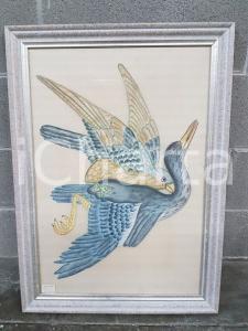1975 CINA VINTAGE - Coppia di uccelli in volo - quadro 53x73 cm