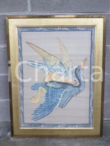 1975 CINA VINTAGE - Uccelli in volo con cornice microfiori- quadro 61,3x79 cm