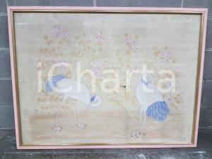 1975 CINA VINTAGE - Trampolieri tra cespugli fioriti - quadro 61,3x79 cm