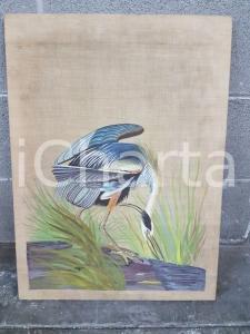 1975 CINA VINTAGE - Trampoliere piumaggio azzurro - quadro 42x57 cm