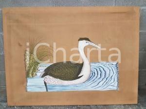 1975 CINA VINTAGE - Anatra piumaggio verde - quadro 115x85 cm