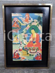 1970 CINA VINTAGE Scena tradizionale spirituale - quadro 57 x 78,7 cm