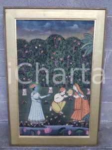 1970 INDIA VINTAGE Scena tradizionale spirituale - quadro 59 X 86 cm