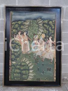 1970 INDIA VINTAGE Giardino indiano - quadro 88,5 x 124 cm