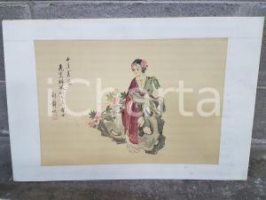 1970 ORIENTE VINTAGE Giovane donna con ideogrammi - quadro 60 x 39,5 cm