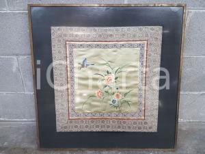 1970 ORIENTE VINTAGE Foulard seta ricamato incorniciato - quadro 65 x 65 cm