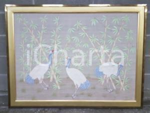 1970 VINTAGE Aironi tra canne di bambù - Quadro mis.118 x 88,5 cm