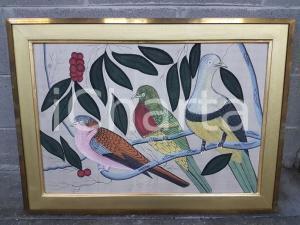 1970 VINTAGE Tre piccioni variopinti su ramoscelli - Quadro mis.82 x 60 cm