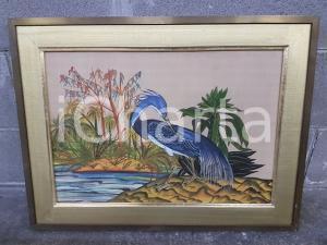 1970 VINTAGE Airone blu lapis su sponda di fiume - Quadro mis.65,3 x 49,5 cm