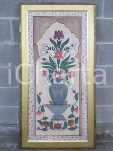 1970 VINTAGE alzata con vaso e mazzo di fiori arabescato-Quadro 59,8 X 114,5 cm