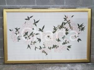 1970 VINTAGE fiori ciliegio su seta firmata Fabbriziani - Quadro 152,5 x 96,5 cm