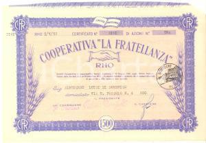 1952 RHO Cooperativa LA FRATELLANZA - Certificato di azioni n° 1